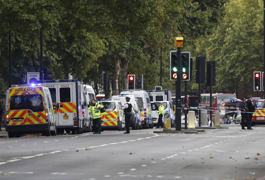 Britain's police and emergency services at the scene of an incident in central London, Saturday, Oct. 7, 2017. London police say emergency services are outside the Natural History Museum in London ...