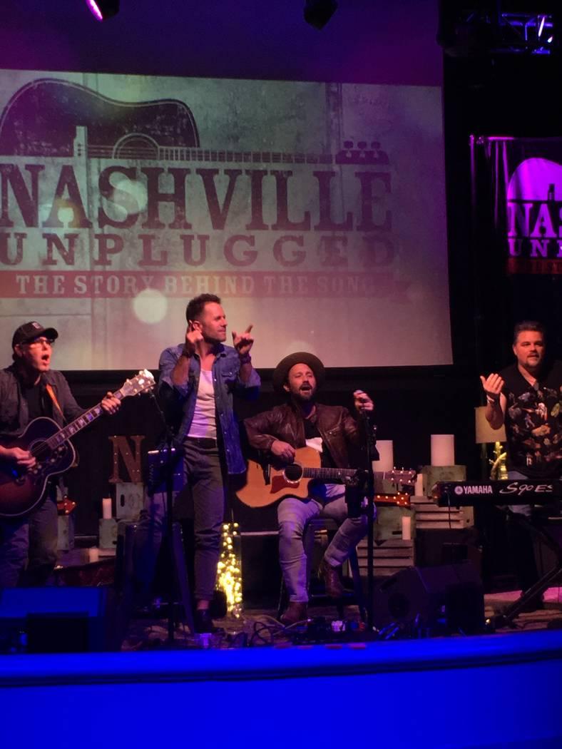 "Aaron Benward and Travis Howard are shown during ""Nashville Unplugged"" Mizuya Lounge at Mandalay Bay on Saturday, Oct. 6, 2017. (John Katsilometes/Las Vegas Review-Journal)"