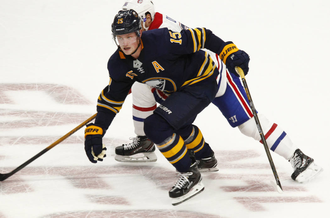 Buffalo Sabres forward Jack Eichel (15) skates into the zone during the third period of an NHL hockey game against the Montreal Canadiens, Thursday Oct. 5, 2017, in Buffalo, N.Y. (AP Photo/Jeffrey ...