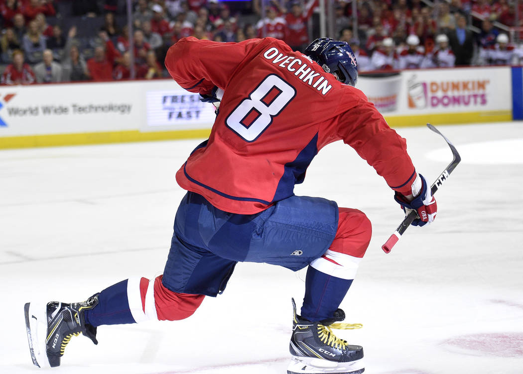 Washington Capitals left wing Alex Ovechkin (8), of Russia, celebrates his goal during the first period of a NHL hockey game against the Montreal Canadiens, Saturday, Oct. 7, 2017, in Washington.  ...