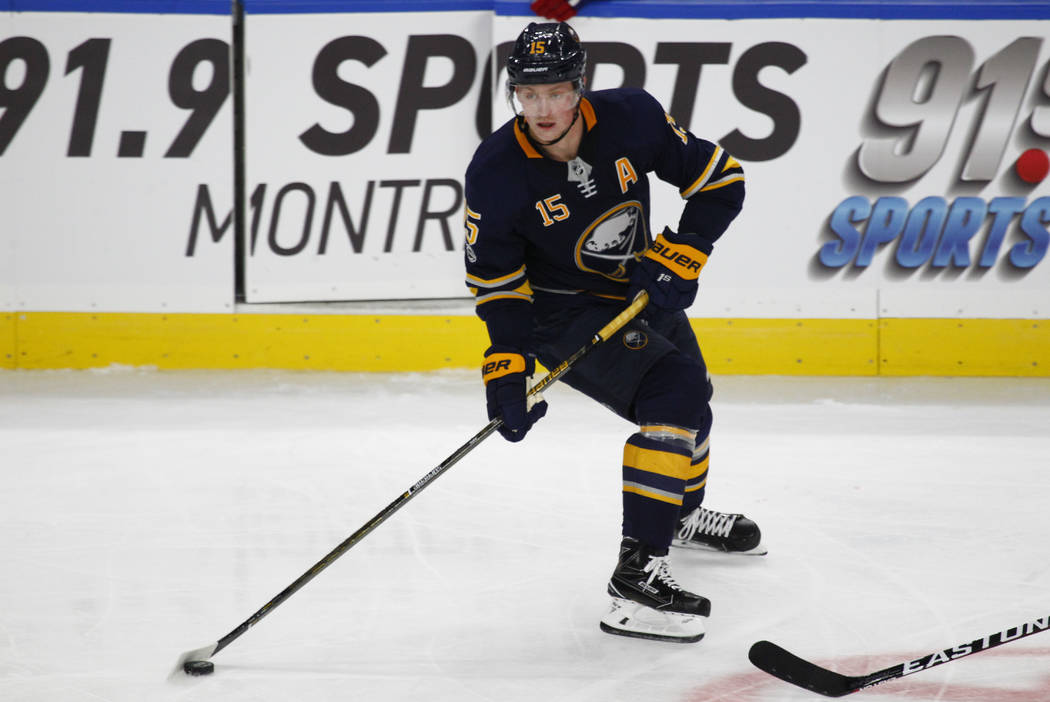 Buffalo Sabres forward Jack Eichel (15) controls the puck during the third period of an NHL hockey game against the Montreal canadiens, Thursday Oct. 5, 2017, in Buffalo, N.Y. (AP Photo/Jeffrey T. ...
