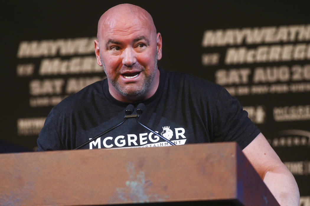 UFC President Dana White during a press conference at the Ka Theatre at the MGM Grand in Las Vegas on Wednesday, Aug. 23, 2017. Chase Stevens Las Vegas Review-Journal @csstevensphoto