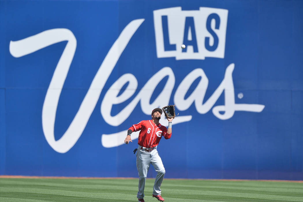 Cincinnati Reds center fielder Billy Hamilton (6) catches a fly ball during a game between the Chicago Cubs and the Cincinnati Reds at Cashman Field in Las Vegas on Sunday, March 26, 2017. (Brett  ...