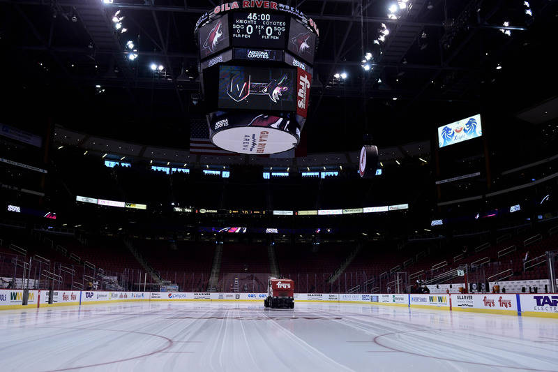 Oct 7, 2017; Glendale, AZ, USA; General view of Gila River Arena prior to a game between the Arizona Coyotes and the Vegas Golden Knights. (Matt Kartozian-USA TODAY Sports)