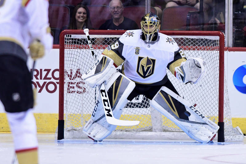 Oct 7, 2017; Glendale, AZ, USA; Vegas Golden Knights goalie Marc-Andre Fleury (29) warms up prior to a game against the Arizona Coyotes at Gila River Arena. Mandatory Credit: Matt Kartozian-USA TO ...