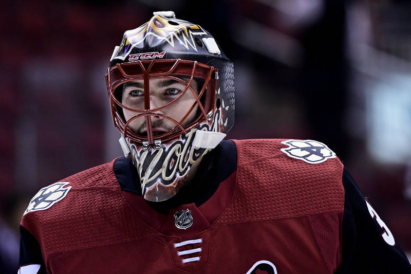 Oct 7, 2017; Glendale, AZ, USA; Arizona Coyotes goalie Louis Domingue (35) looks on prior to a game against the Vegas Golden Knights at Gila River Arena. (Matt Kartozian-USA TODAY Sports)