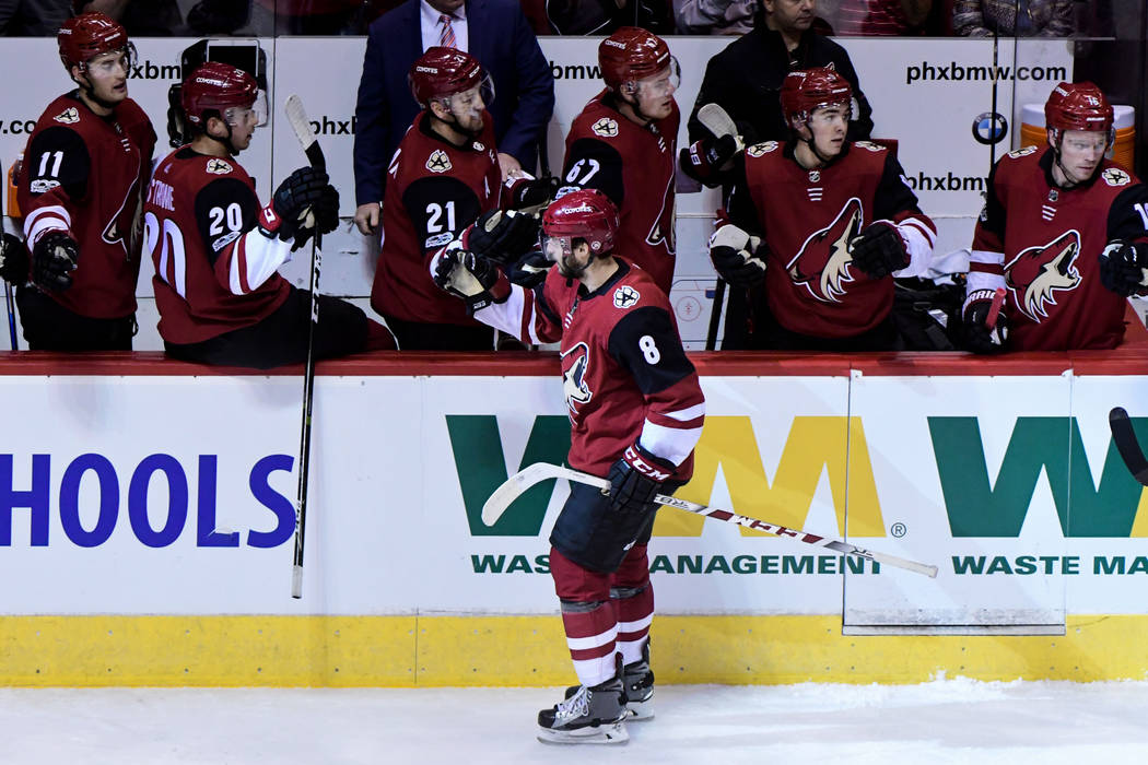 Oct 7, 2017; Glendale, AZ, USA; Arizona Coyotes right wing Tobias Rieder (8) celebrates with teammates after scoring a goal in the first period against the Vegas Golden Knights at Gila River Arena ...