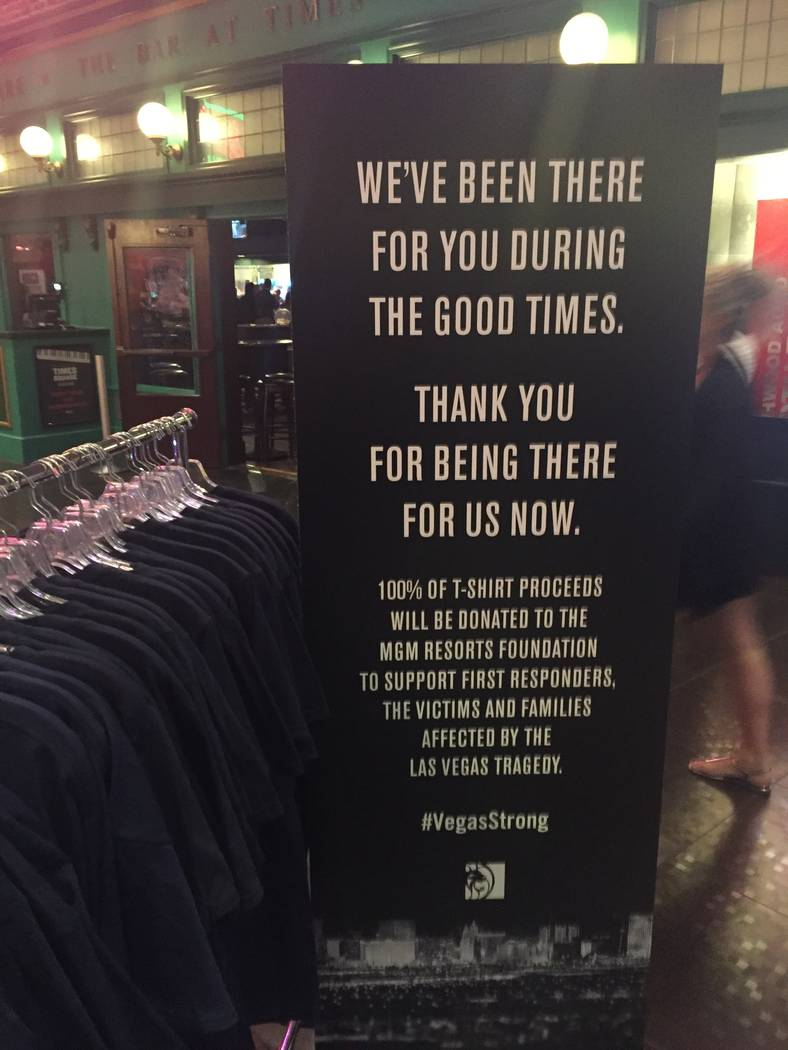 """Vegas Strong"" T-shirts seen at MGM Grand (Chris Lawrence/Las Vegas Review-Journal)"