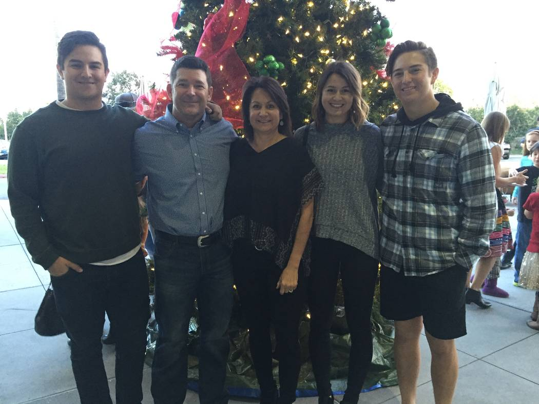 The Watkins family of Aliso Viejo, Calif., shown here in a 2015 Christmas photo. From left: Jake, Dan, Susan, Alexa and Eric.
