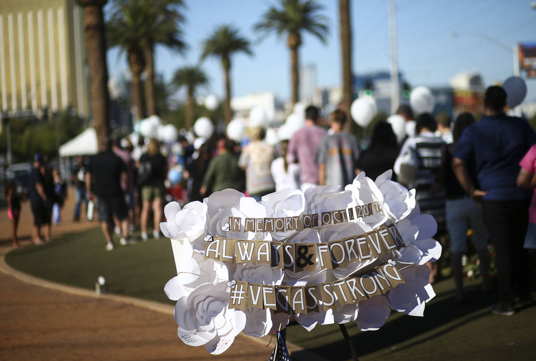 "A tribute left at a makeshift memorial for victims of Sunday's mass shooting near the ""Welcome to Fabulous Las Vegas"" sign in Las Vegas on Saturday, Oct. 7, 2017. Chase Stevens L ..."