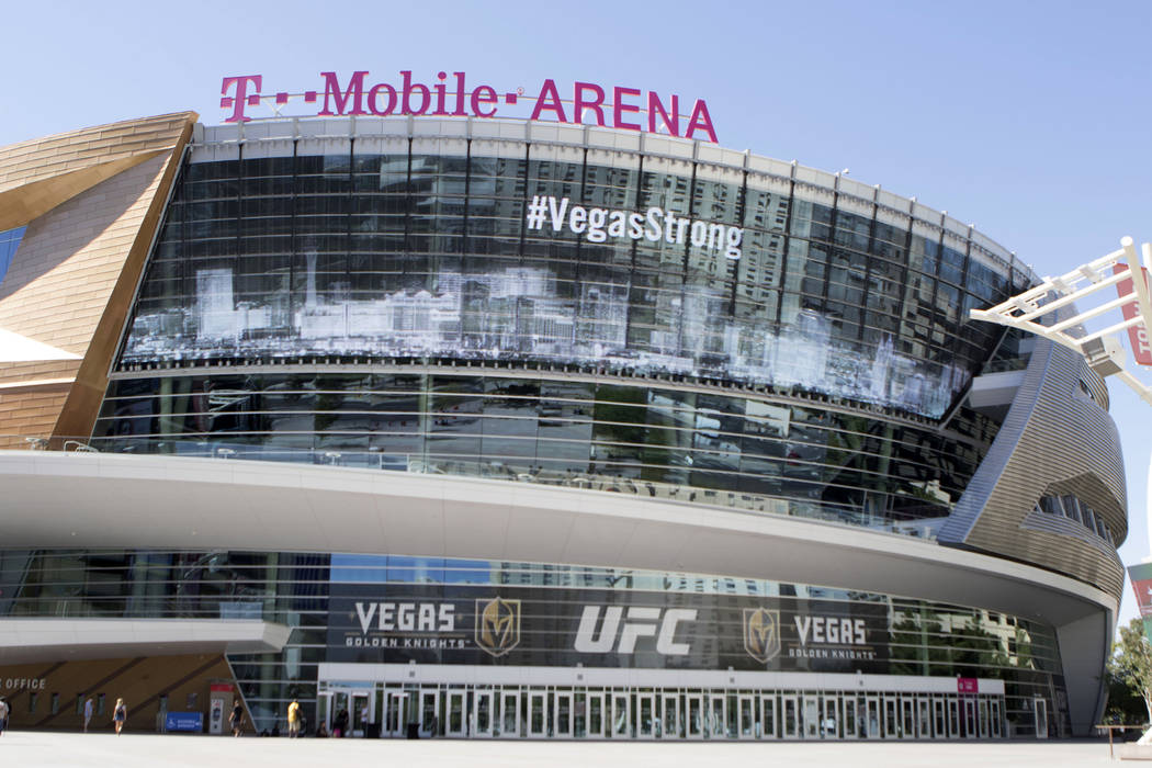 The T-Mobile Arena marquee in Las Vegas, Thursday, Oct. 5, 2017. (Heidi Fang Las Vegas Review-Journal)