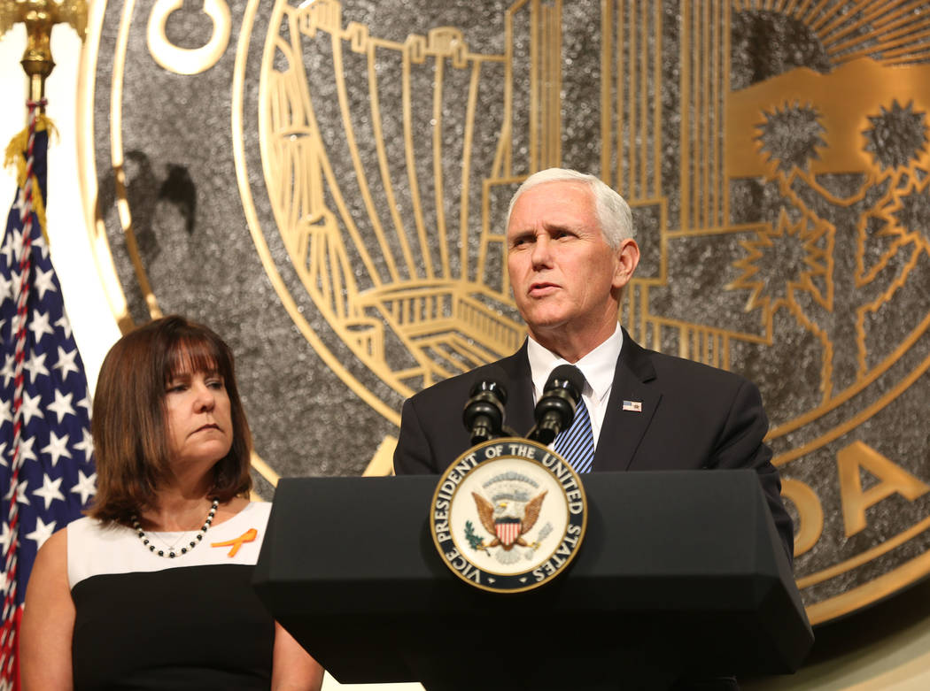 Vice President Mike Pence, with his wife Karen Pence speaks following a unity prayer walk Saturday, Oct. 7, 2017. Elizabeth Brumley  Las Vegas Review-Journal