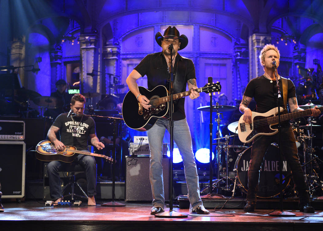 "In this photo provided by NBC, Jason Aldean performs ""I Won't Back Down"" on ""Saturday Night Live,"" Saturday, Oct. 7, 2017, in New York. ""Saturday Night L ..."