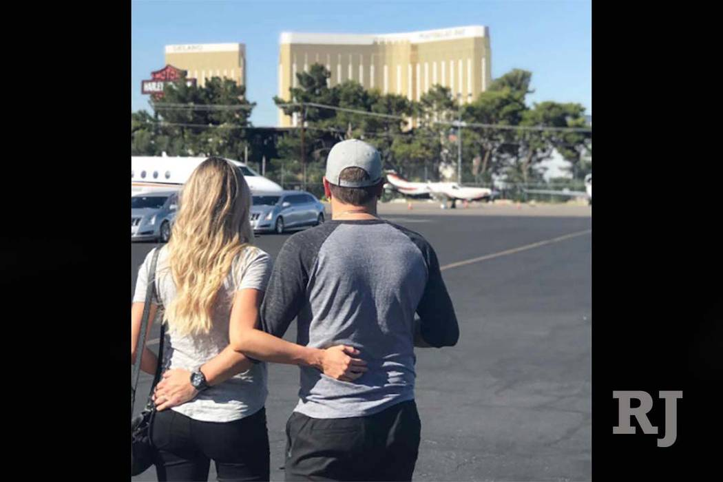 Jason Aldean's wife, Brittany, posted this photo of the couple on her Instagram account on Sunday, Oct. 8, 2017. They visited patients at University Medical Center on Sunday. (Instagram/Bri ...