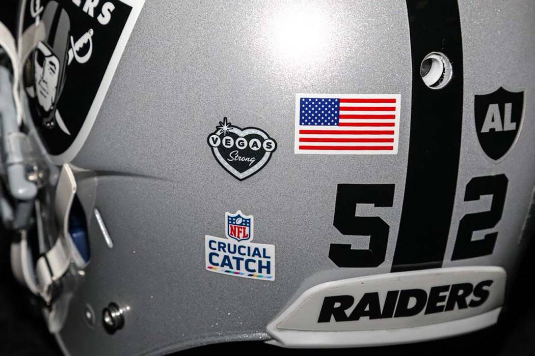 """Raiders players will wear a """"Vegas Strong"""" decal on their helmet when they play against the Baltimore Ravens on Sunday, Oct. 8, 2017. (Oakland Raiders)"""