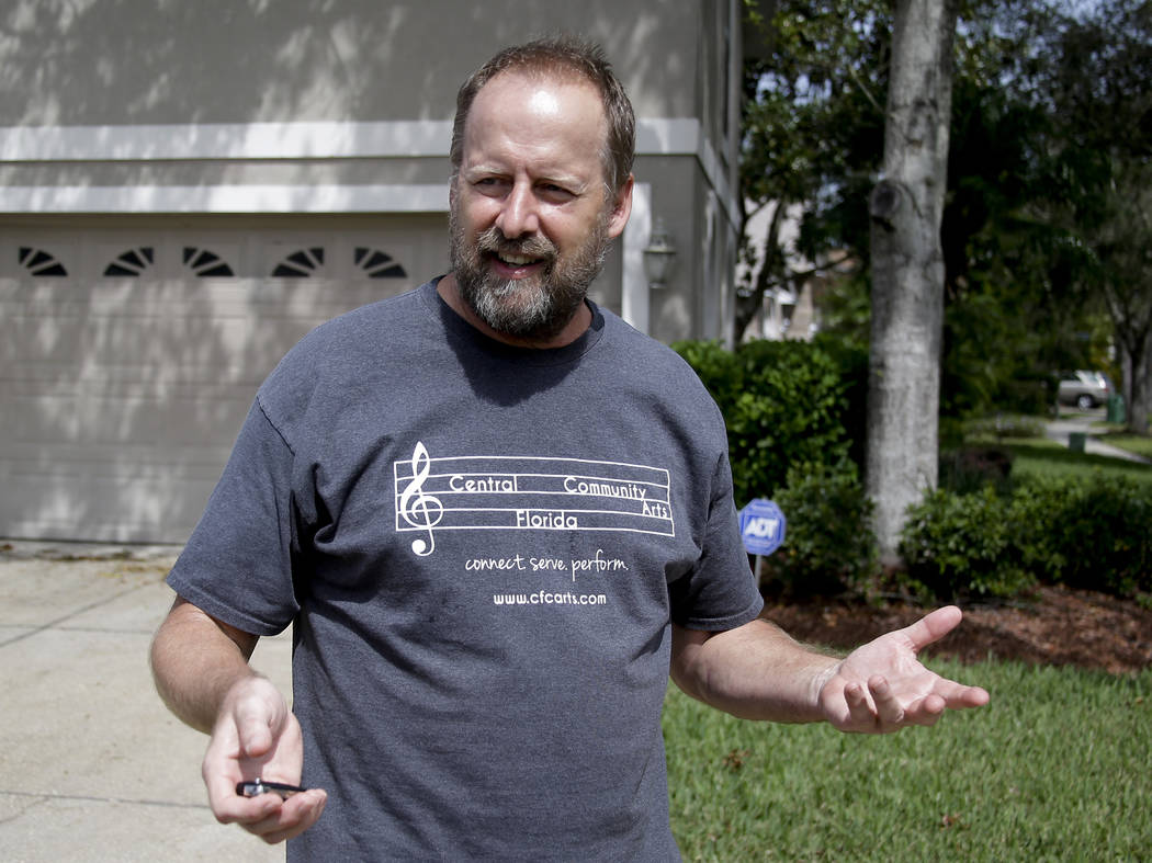 """Eric Paddock, brother of Las Vegas gunman Stephen Paddock, speaks to reporters near his home, Monday, Oct. 2, 2017, in Orlando, Fla. Paddock told the Orlando Sentinel: """"We are completely  ..."""