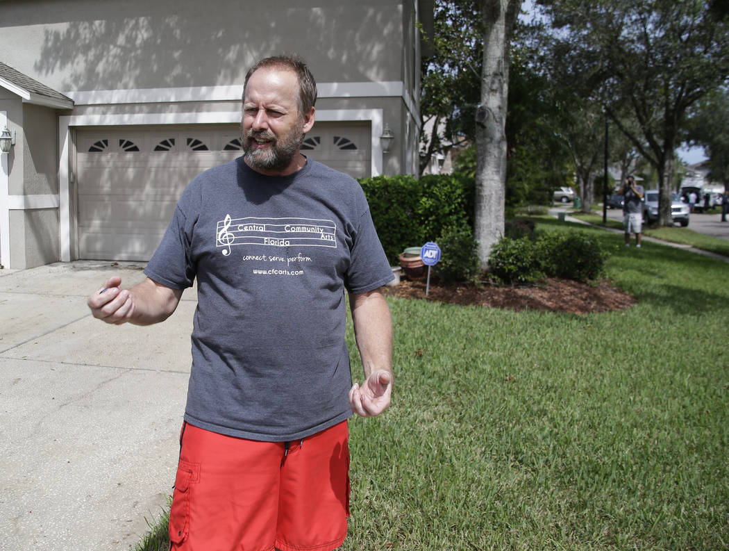"Eric Paddock, brother of Las Vegas gunman Stephen Paddock, speaks to reporters near his home, Monday, Oct. 2, 2017, in Orlando, Fla. Paddock told the Orlando Sentinel: ""We are completely  ..."