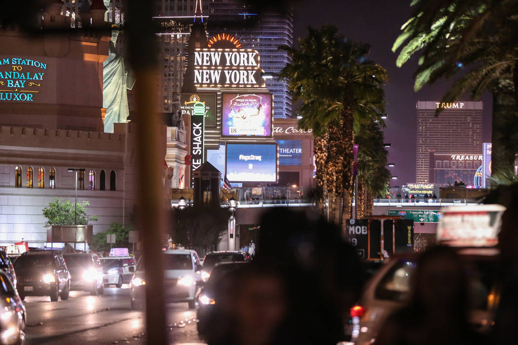 A view of the Strip as some lights turned off at 10:05 p.m. for 11 minutes marking exactly one week after the mass shooting at the Route 91 Harvest Festival in Las Vegas, Sunday, Oct. 8, 2017. Joe ...