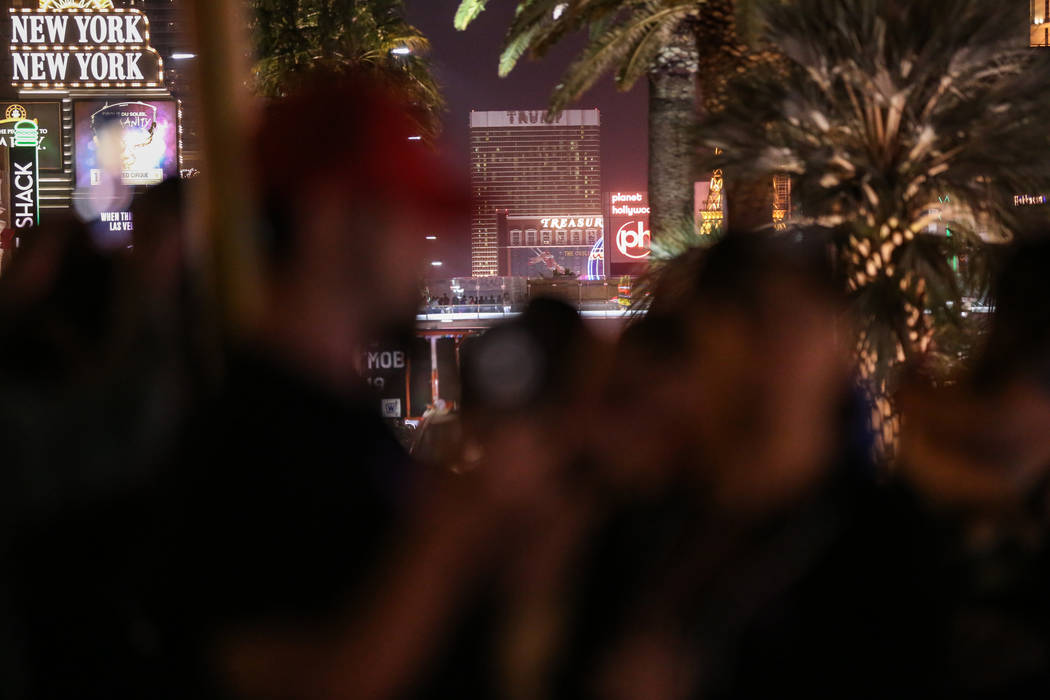 Lights from Trump Tower are turned off along with others along the Strip at 10:05 p.m. for 11 minutes marking exactly one week after the mass shooting at the Route 91 Harvest Festival in Las Vegas ...