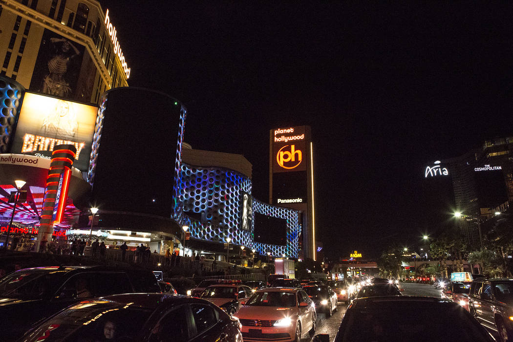 Marquees on the Strip go dark one week after the Oct. 1, 2017 mass shooting in Las Vegas, Sunday, Oct. 8, 2017. Bridget Bennett Las Vegas Review-Journal @BridgetKBennett