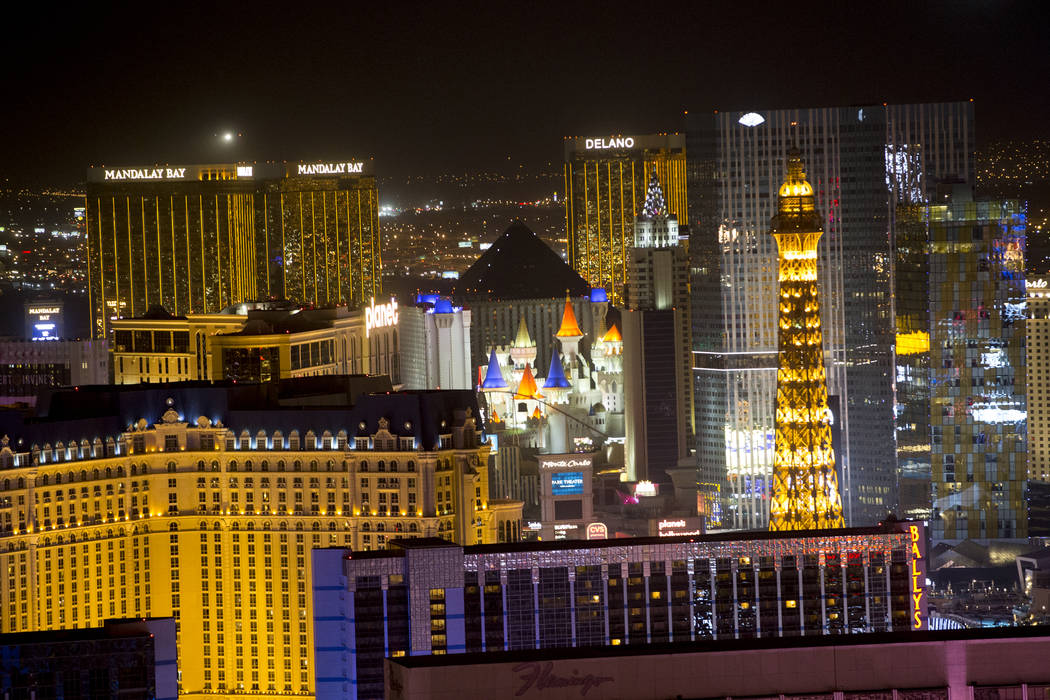 The Las Vegas Strip after marquees went dark to honor the 58 victims who were killed during the mass shooting at the Route 91 Harvest Festival last week, Sunday, Oct. 8, 2017. Erik Verduzco/Las Ve ...
