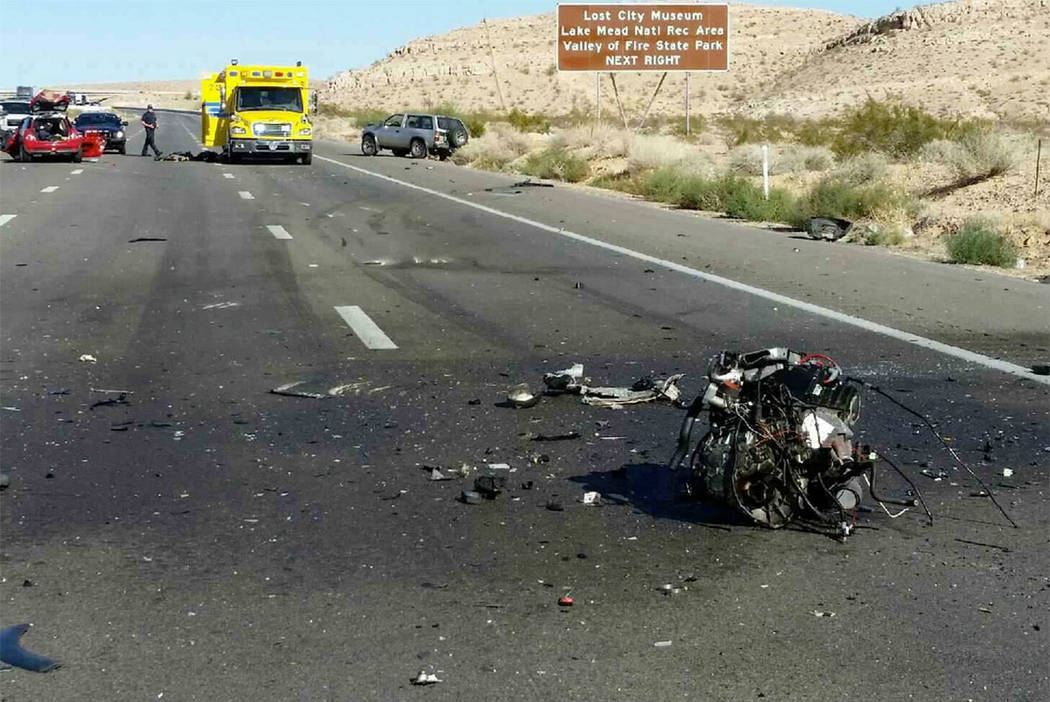 The scene of a fatal crash on Interstate 15 near Moapa on Sunday. (Nevada Highway Patrol/Twitter)