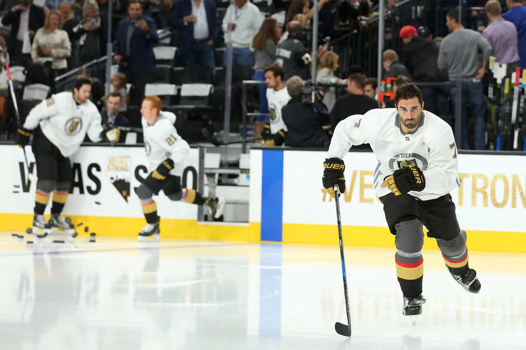 Vegas Golden Knights defenseman Jason Garrison (7) takes to the ice for warm ups before the game against the Arizona Coyotes at T-Mobile Arena in Las Vegas, Tuesday, Oct. 10, 2017. Bridget Bennett ...