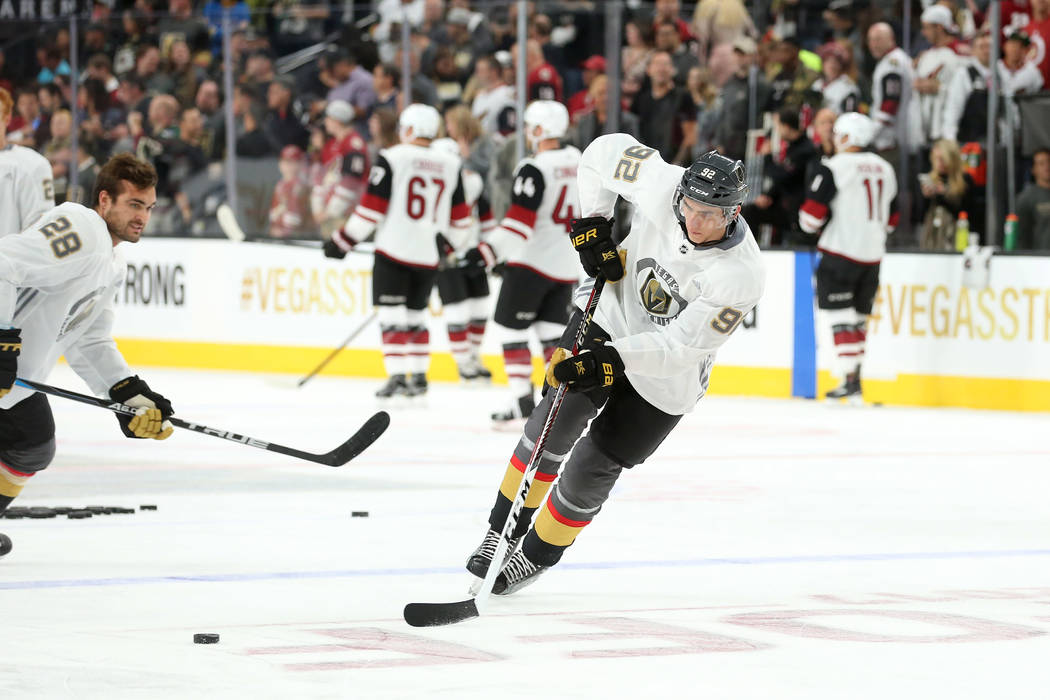 Vegas Golden Knights left wing Tomas Nosek (92) passes the puck during warmups before the game against the Arizona Coyotes at T-Mobile Arena in Las Vegas, Tuesday, Oct. 10, 2017. Bridget Bennett L ...