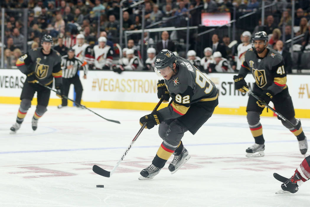 Vegas Golden Knights left wing Tomas Nosek (92) bring the puck up to the net during the second period against the Arizona Coyotes at T-Mobile Arena in Las Vegas, Tuesday, Oct. 10, 2017. Bridget Be ...