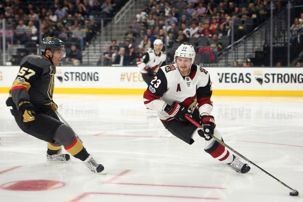 Arizona Coyotes defenseman Oliver Ekman-Larsson (23) handles the puck during the second period at T-Mobile Arena in Las Vegas, Tuesday, Oct. 10, 2017. Bridget Bennett Las Vegas Review-Journal @Bri ...