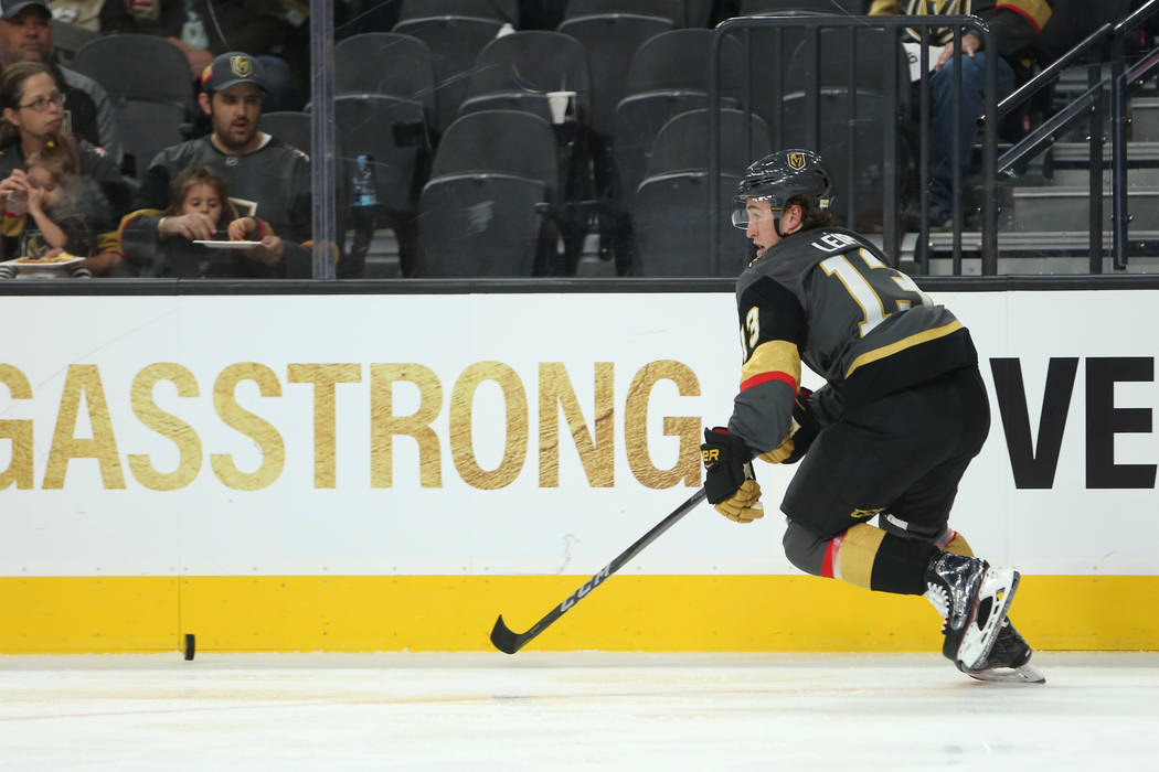 Vegas Golden Knights left wing Brendan Leipsic (13) chases after the puck during the third period against the Arizona Coyotes at T-Mobile Arena in Las Vegas, Tuesday, Oct. 10, 2017. Knights won 5- ...
