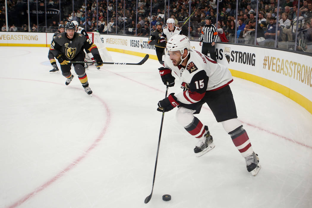 during the third period against the Arizona Coyotes at T-Mobile Arena in Las Vegas, Tuesday, Oct. 10, 2017. Knights won 5-2. Bridget Bennett Las Vegas Review-Journal @BridgetKBennett