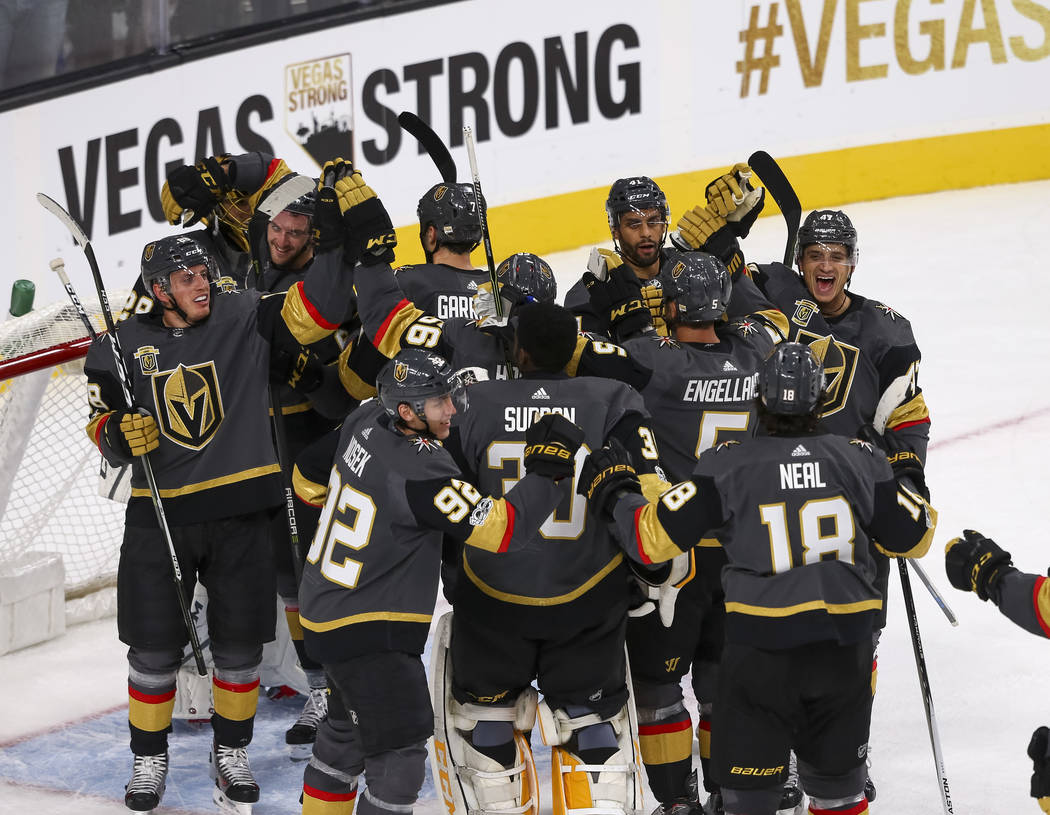 Vegas Golden Knights celebrate their 5-2 victory over Arizona Coyotes, Tuesday, Oct. 10, 2017, at the T-Mobile Arena in Las Vegas. Richard Brian Las Vegas Review-Journal @vegasphotograph