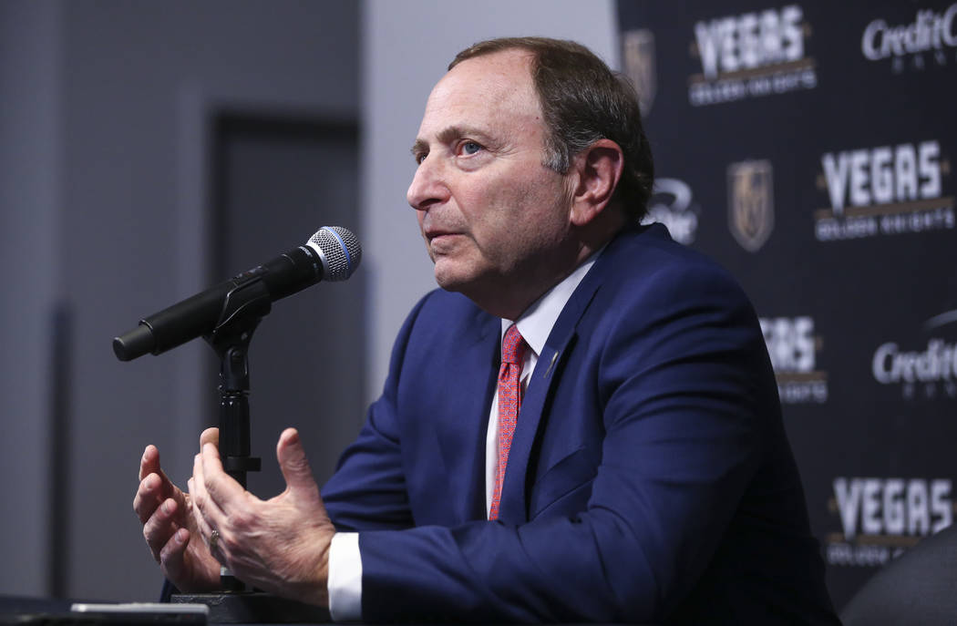 NHL Commissioner Gary Bettman before the start of an NHL hockey game at T-Mobile Arena between Golden Knights and Arizona Coyotes in Las Vegas on Tuesday, Oct. 10, 2017. Chase Stevens Las Vegas Re ...