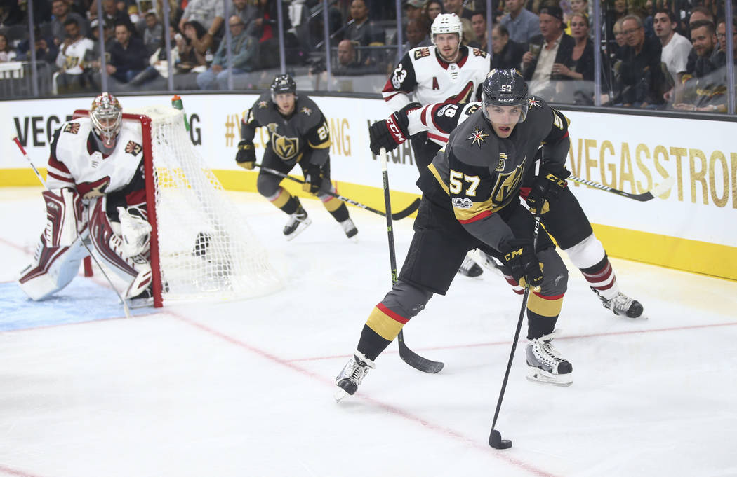Vegas Golden Knights' David Perron (57) guides the puck during an NHL hockey game against the Arizona Coyotes at T-Mobile Arena in Las Vegas on Tuesday, Oct. 10, 2017. Chase Stevens Las Vegas Revi ...