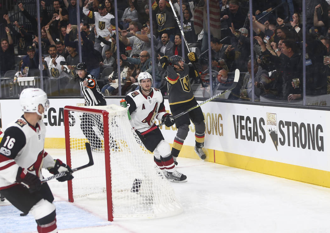 Vegas Golden Knights' Tomas Nosek (92) reacts after scoring the first goal of the night against the Arizona Coyotes during an NHL hockey game at T-Mobile Arena in Las Vegas on Tuesday, Oct. 10, 20 ...