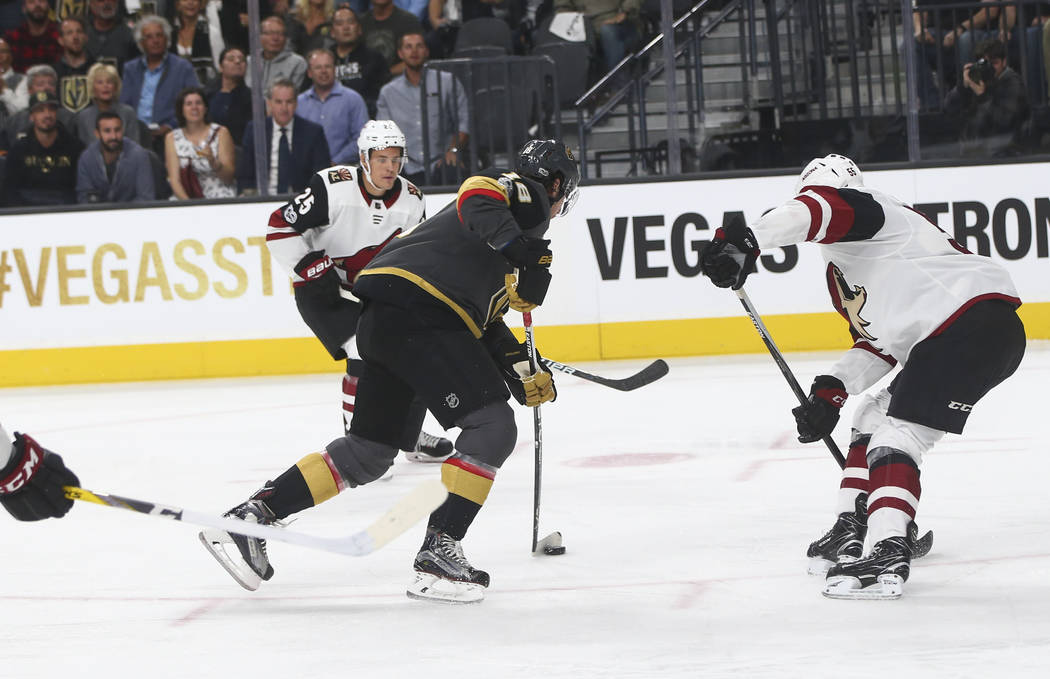 Vegas Golden Knights' James Neal (18) prepares to score against the Arizona Coyotes during an NHL hockey game at T-Mobile Arena in Las Vegas on Tuesday, Oct. 10, 2017. Chase Stevens Las Vegas Revi ...
