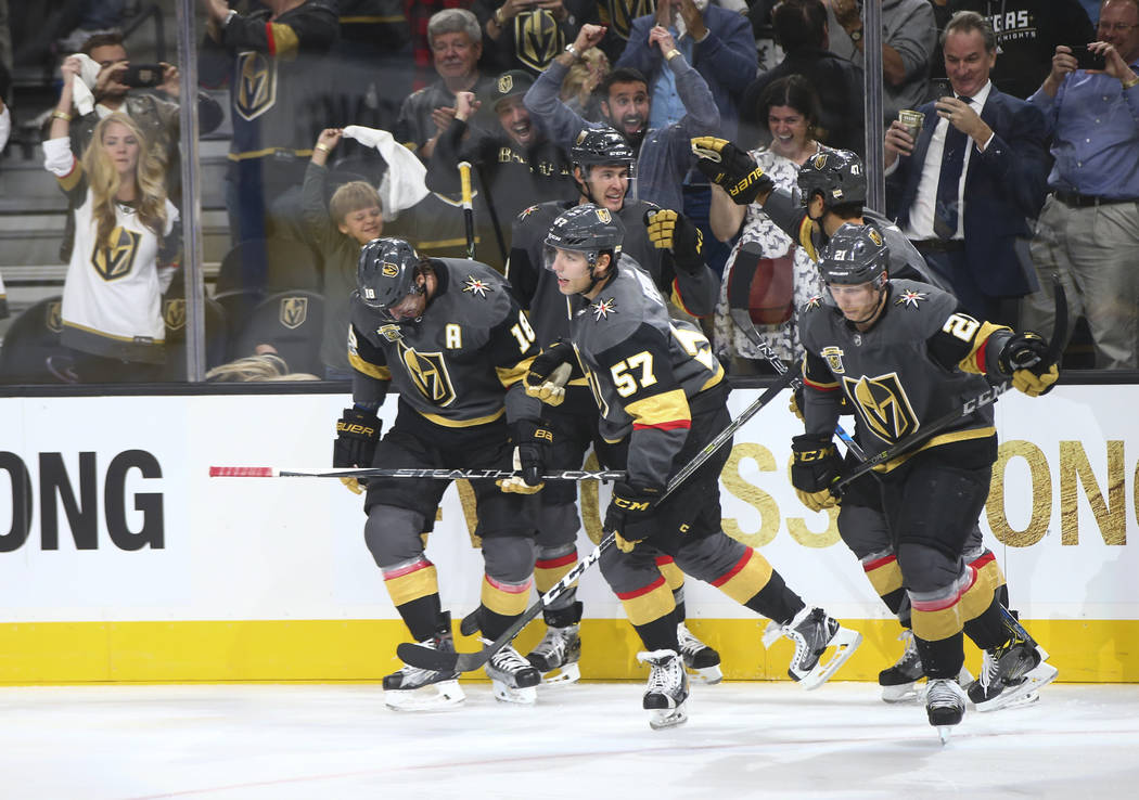 Vegas Golden Knights players after scoring against the Arizona Coyotes during an NHL hockey game at T-Mobile Arena in Las Vegas on Tuesday, Oct. 10, 2017. Chase Stevens Las Vegas Review-Journal @c ...