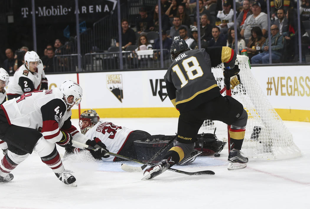 Vegas Golden Knights' James Neal (18) scores the fourth goal against the Arizona Coyotes during an NHL hockey game at T-Mobile Arena in Las Vegas on Tuesday, Oct. 10, 2017. Chase Stevens Las Vegas ...
