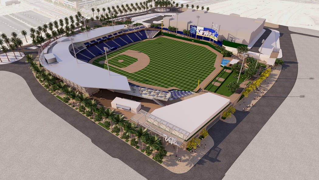 Rendering shows Howard Hughes Corp.'s proposed baseball stadium in Downtown Summerlin on approximately eight acres just south of City National Arena. (Howard Hughes Corp.)