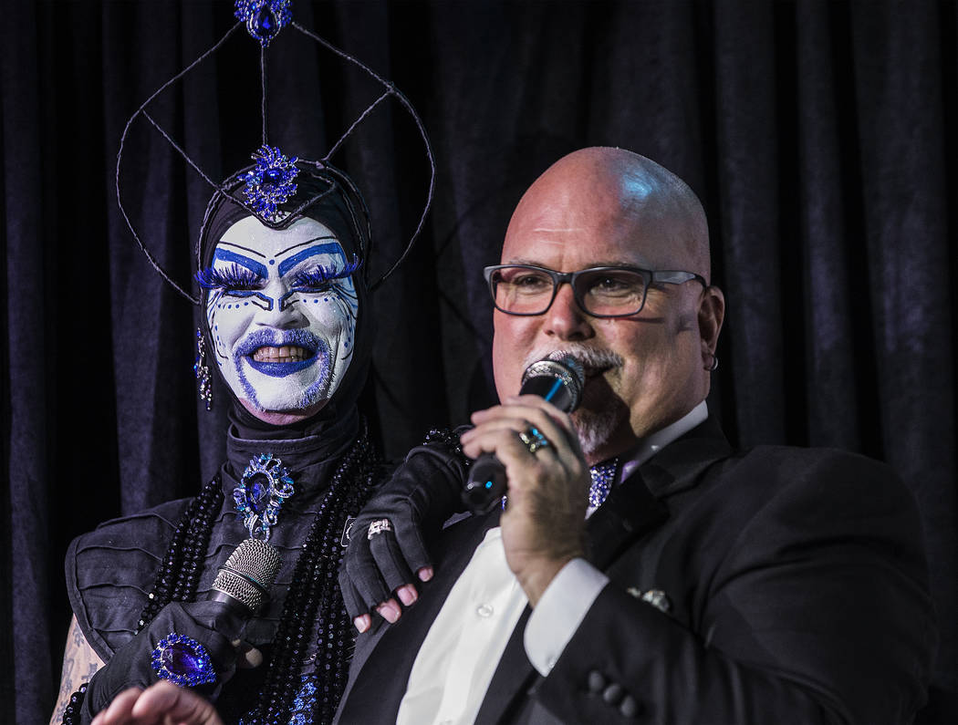 "Hosts Tracy Skinner, ""Mother Loosy Lust Bea Lady,"" left, and Jim McCoy entertain the crowd during ""Project Nunway,"" a fundraiser fashion show for The Holy Order Sin Sity Sisters of Perpetual Indul ..."
