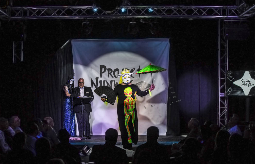 "Sister Ema walks the runway during ""Project Nunway,"" a fundraiser fashion show for The Holy Order Sin Sity Sisters of Perpetual Indulgence benefiting its AIDS drug assistance program on Saturday,  ..."