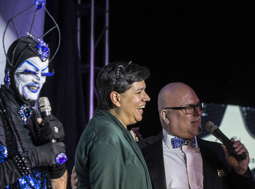 "Hosts Tracy Skinner, ""Mother Loosy Lust Bea Lady"" left, designer Vivianne Du Monde and Jim McCoy entertain the crowd during ""Project Nunway,"" a fundraiser fashion show for The Holy Order Sin Sity  ..."