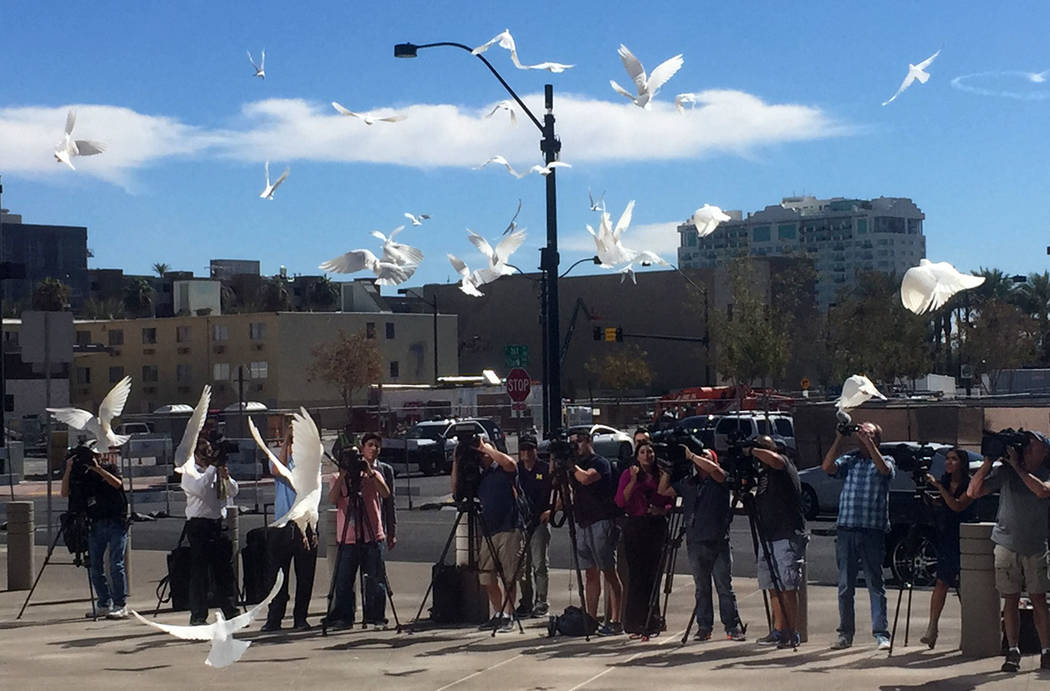 Fifty-eight doves are released outside Las Vegas City Hall on Monday, Oct. 7, 2017, in remembrance of the 58 victims who lost their lives in Sunday's shooting. Briana Erickson Las Vegas Review-Journal