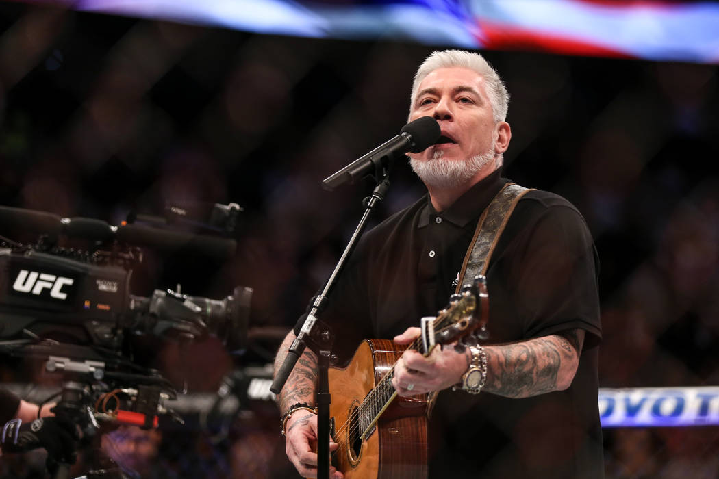 Everlast sings during a ceremony honoring the victims of Sunday night's shooting at UFC 216 at T-Mobile Arena in Las Vegas, Saturday, Oct. 7, 2017. Joel Angel Juarez Las Vegas Review-Journal @jaju ...