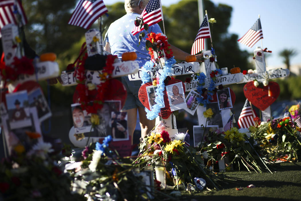 "A makeshift memorial for victims of Sunday's mass shooting near the ""Welcome to Fabulous Las Vegas"" sign in Las Vegas on Saturday, Oct. 7, 2017. Chase Stevens Las Vegas Review-Jo ..."