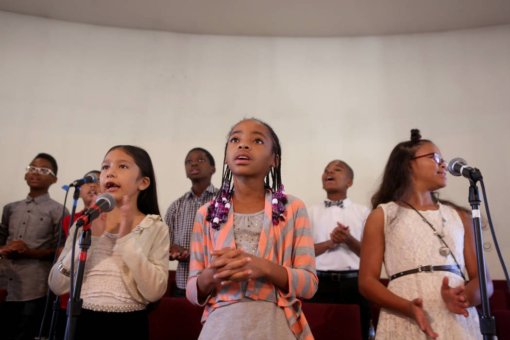 The children's choir worships during a First African-Methodist Episcopal Church service in North Las Vegas, Sunday, Oct. 8, 2017. Elizabeth Brumley Las Vegas Review-Journal @EliPagePhoto