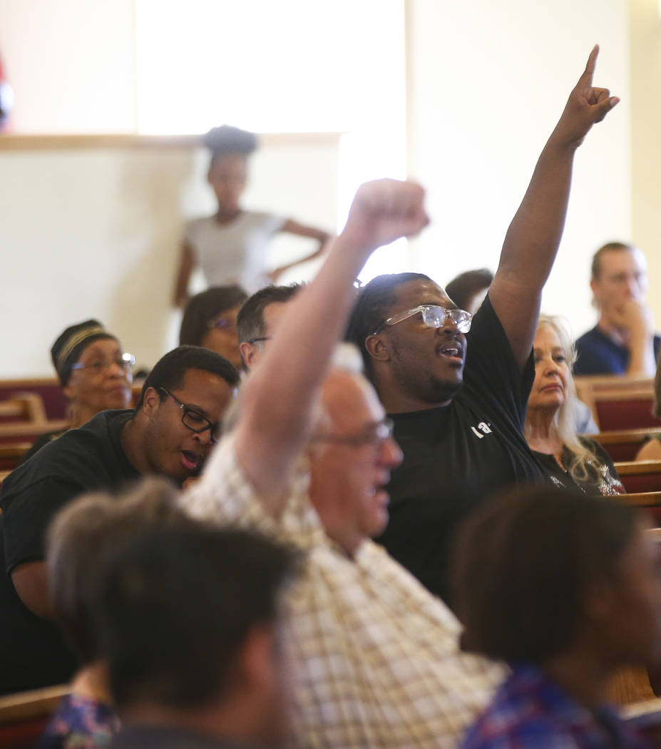 Marcus Weatherby, right, during a healing through celebration event at First African Methodist Episcopal Church in North Las Vegas on Sunday, Oct. 8, 2017. Chase Stevens Las Vegas Review-Journal @ ...