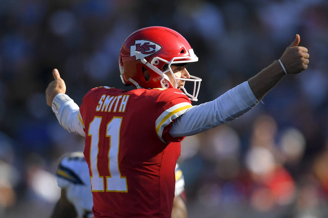 Kansas City Chiefs quarterback Alex Smith plays against the Los Angeles Chargers during the second half of an NFL football game Sunday, Sept. 24, 2017, in Carson, Calif. (AP Photo/Mark J. Terrill)