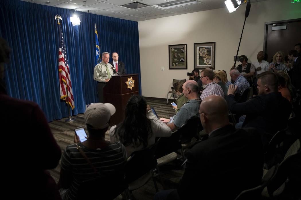 Clark County Sheriff Joe Lombardo discusses the Route 91 Harvest Festival mass shooting at the Metropolitan Police Department headquarters in Las Vegas, Monday, Oct. 9, 2017. Erik Verduzco/Las Veg ...